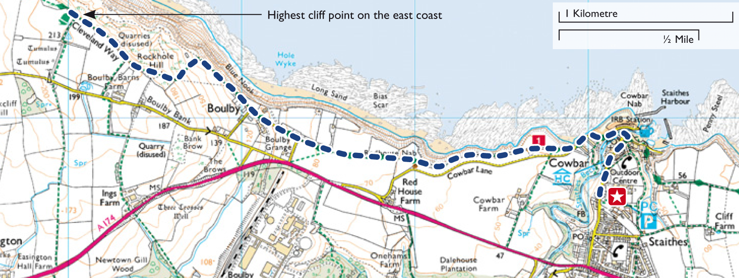 Be the highest person on the East Coast of England at Boulby Cliff